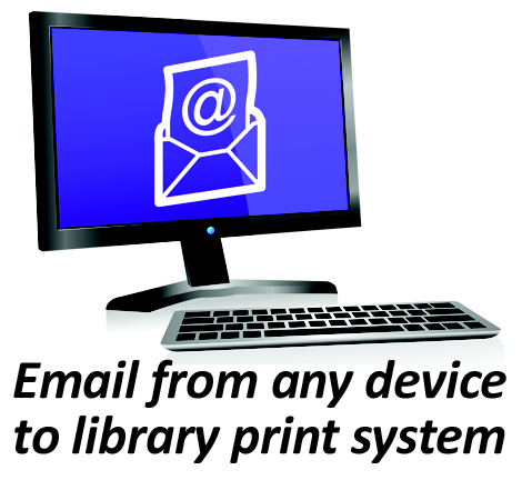 Email from Any device to the library print system